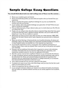 sample college application essay questions