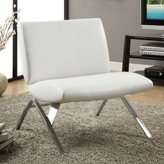 White Leatherette Accent Chair in Chrome Finish