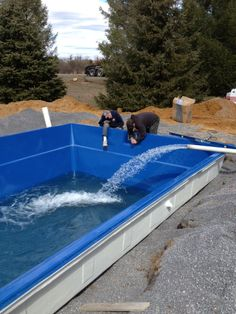 2:30 pm we finish installing the skimmer on the pool.
