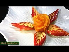 Orange Simple Flower - Beginners Lesson 14 By Mutita The Art Of Fruit And Vegetable Carving Tutorial - YouTube
