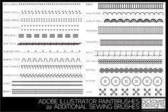 22 Add. Sewing Brushes-Illustrator by pickover designs on Creative Market