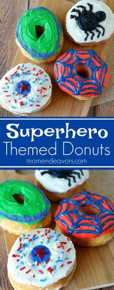 Superhero Themed Donuts. Hero Up with some Captain America, Hulk, Spider-Man, and Black Widow Superhero donuts - perfect for a superhero party or movie night!
