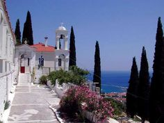 Spyliani monastery Samos, Places Ive Been, Greece, Mansions, House Styles, Travel, Greece Country, Viajes, Manor Houses
