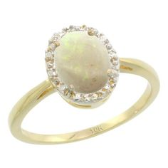10K Yellow Gold Natural Opal Diamond Halo Ring Oval 8X6mm, 1/2 inch wide, size 6