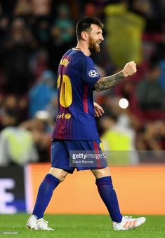 Lionel Messi of Barcelona celebrates after scoring his sides second goal during the UEFA Champions League group D match between FC Barcelona and Olympiakos Piraeus at Camp Nou on October 18, 2017 in Barcelona, Spain.