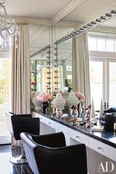 Khloe Kardashian Kitchen. Love the dark wood floors,grey chairs, and ...