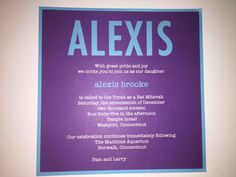 Love the turquoise and purple combination! So fun! Please contact Out of the Box NY for cost and more information. Box Invitations, Custom Invitations, Turquoise And Purple, Torah, Bat Mitzvah, Fun, Hilarious