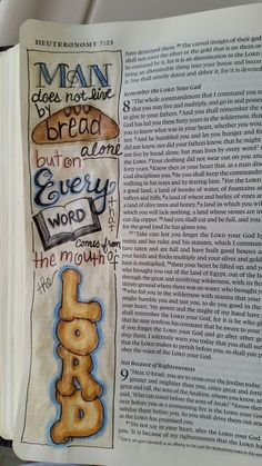 Deuteronomy 8 From Dianne Gottron's Bible. Bible Journaling For Beginners, Bible Study Journal, Art Journaling, My Bible, Bible Art, Bible Verses, Scriptures, Bible Drawing, Bible Doodling