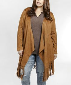 Another great find on #zulily! Camel Fringe Open Cardigan - Plus #zulilyfinds