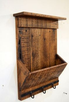 Rustic Reclaimed Wood Mail Organizer and Key Hook, Entryway Organizer, Mail Organizer, Key Hook, Rus Reclaimed Wood Projects, Small Wood Projects, Reclaimed Wood Furniture, Rustic Furniture, Salvaged Wood, Repurposed Wood, Furniture Vintage, Industrial Furniture, Vintage Industrial
