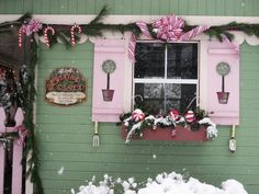 """Faeryhollow's Santa's Workshop 2010, My potting shed became Santa's workshop again this year, and a beautiful Christmas snow provided the perfect setting., The sign says """"Santa's Workshop...making wonderful toys for good little girls and boys""""  , Holidays Design"""