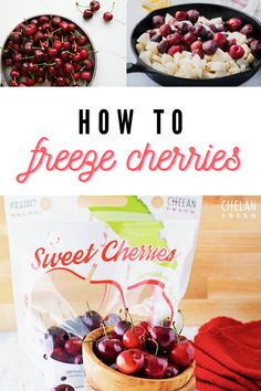 Check out our tips on how to freeze your cherries and enjoy them year-round! Freezer Jam Recipes, Canning Recipes, Fruit Recipes, Summer Recipes, Freezer Hacks, Canning 101, Cherry Recipes, Recipies, Frozen Cherries