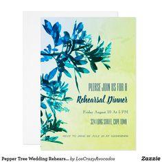 Pepper Tree Wedding Rehearsal Dinner Invite Card