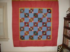 Antique Pennsylvania PA nine patch quilt c. 1900, great condition