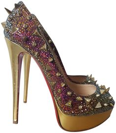 Louboutin Shoes Women, Christian Louboutin Shoes, Stiletto Heels, Shoes Heels, Pumps, Glitter Shoes, Red Bottoms, Me Too Shoes, Peep Toe