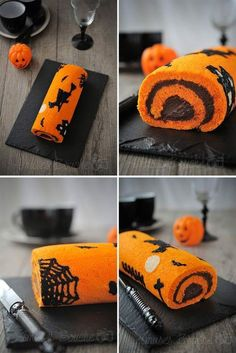 Halloween Swiss roll cake Source by livelyheidi Halloween Desserts, Halloween Cupcakes, Comida De Halloween Ideas, Halloween Torte, Pasteles Halloween, Bolo Halloween, Bricolage Halloween, Hallowen Food, Halloween Party Snacks