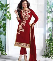 Buy Maroon  embroidery  chanderi and cotton unstitched salwar with dupatta dress-material online