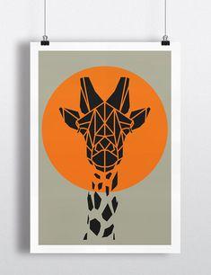 Art print, geometric giraffe print, cool gray giraffe art, yellow circle, s Giraffe Art, Giraffe Head, Kunst Poster, Geometric Art, Geometric Animal, Grafik Design, Nursery Art, Themed Nursery, Nursery Ideas