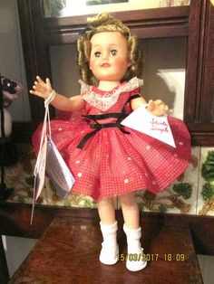 SHIRLEY TEMPLE DOLL VINTAGE 15INCH ORIGINAL NYLON DRESS TAGGED  IDEAL 1950'S #IDEAL