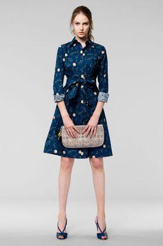 blue shirt dress w/ fabric belt and yellow starburst print