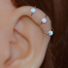 White Opal Nose Ring - Gold Nose Hoop - Rook Piercing - Cartilage Earring - Tragus Earring - Daith Ring - Helix Hoop - Nose Piercing Ear Piercing Ideas For Guys Tragus Piercings, Faux Piercing, Piercing Plug, Cute Ear Piercings, Cartilage Earrings, Stud Earrings, Piercing Types, Facial Piercings, Body Piercing