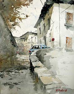 by Kegriz Rafal Watercolor City, Watercolor Drawing, Watercolor Landscape, Watercolor Illustration, Painting & Drawing, Watercolor Images, Urban Landscape, Landscape Art, Landscape Paintings
