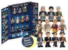 """Buy Doctor Who 11 Doctors Micro Figure Collector Set - Character Building series at Mighty Ape NZ. Doctor Who Eleven Doctors Character Building Collection Pack There is a write up about each doctor on the inside of the """"doors"""". all micro-figures ap. Doctor Who Gifts, Doctor Who Tv, Doctor Who Tardis, Eleventh Doctor, Good Doctor, Lego Tardis, Geek Toys, Police Box, Thing 1"""