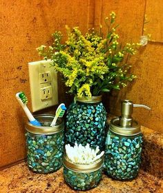 Handmade Broken Shell Mason Jar Bathroom Set Four Pieces Set Includes:  1  Quart Flower