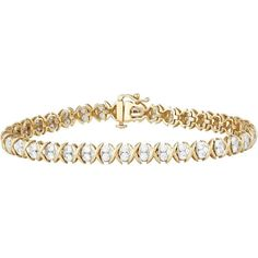 3 ct. tw. Diamond X-Oval-X 7 1/4 Bracelet in 10K Yellow Gold (42,640 MXN) ❤ liked on Polyvore featuring jewelry, bracelets, accessories, necklaces, yellow gold jewelry, diamond bangles, gold diamond jewelry, gold diamond bangle and yellow gold bangle