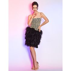 Cocktail Party/Holiday Dress Sheath/Column Strapless Short/Mini Lace Dress – USD $ 149.99