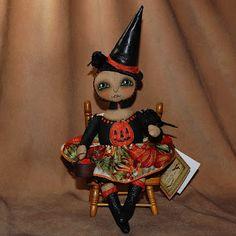 Outside the Box Primitives: TISHA TORMENTAL~primitive folk art witch doll halloween crows, pumpkins