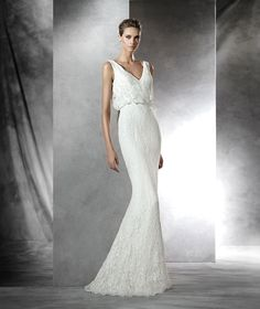 Deep+V+Back+V+Neck+Sweep+Train+Lace+Sheath+Column+Wedding+Dress+Apr0156