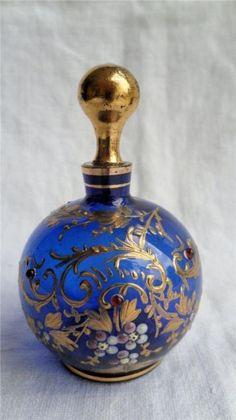 Antique Bristol Blue Moser Glass Scent Perfume Bottle Gilt Enamel  #Flacon#Decorative#Design