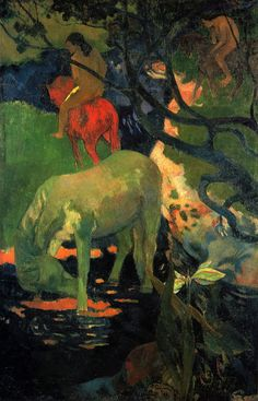 Paul Gauguin, Painted Horses, White Horse Painting, Culture Art, Impressionist Artists, Oil Painting Reproductions, White Horses, Horse Art, Canvas Prints
