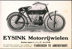 eysink 1912 eysink Holland Bike, Antique Motorcycles, Motorcycle Posters, Moto Bike, Poster Ads, Old Bikes, Illustrations And Posters, Vintage Posters, Antique Cars