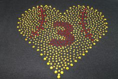 Softball BLING Heart and Number Tee or by SpunkySparkles on Etsy, $26.00