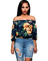 GBSELL Fashion Women Embroidered Floral Off-shoulder Blouse Top