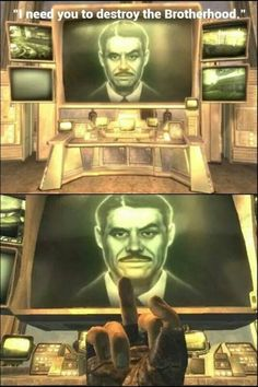 Fallout New Vegas Mr. House I would do this every time he surgest destroying the brotherhood of steel