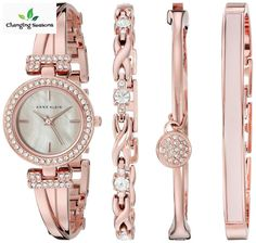 Ladies Dress Watch and Bracelet Set Swarovski Crystal Accented Rose Goldtone #AnneKlein #womens