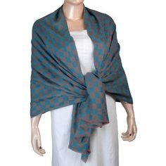 Amazon.com: Indian Online Clothing Rosy Brown and Blue Pashmina Cashmere Scarf for Women: Clothing