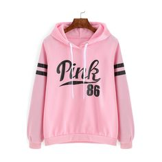 SheIn(sheinside) Pink Drawstring Hooded Letters Print Sweatshirt ($15) ❤ liked on Polyvore featuring tops, hoodies, sweatshirts, pink, hoodie sweatshirts, hoodie pullover, pullover sweatshirts, pink pullover hoodie and hooded pullover