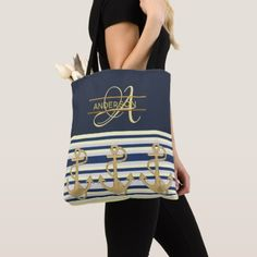 Nautical Anchor Blue Gold MONOGRAM Tote Bag - girl gifts special unique diy gift idea