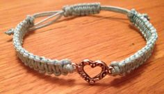 Charm bracelet for girls, Macrame Bracelet heart charm Custom colours, stackable and layering bracelet, valentine gift. £4.00, via Etsy.