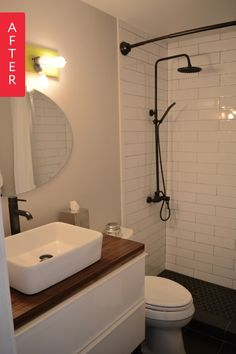 Before & After: A Small & Basic Bathroom Blossoms Into a Black &…