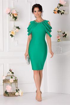Rochie Eleganta Benzi Aplicate La Bust Aplicatii Metalice La Guler Cold Shoulder Dress, Dresses, Fashion, Vestidos, Moda, La Mode, Fasion, Dress, Day Dresses