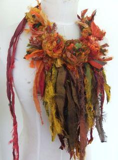 Oh I so love Plumfish's work! This is absolutely gorgeous...Sari Silk shades of autumn via Plumfish.