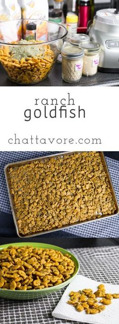 Ranch Goldfish crackers are like ranch oyster crackers.only better. They are a perfect snack for a holiday party! Salty Snacks, Yummy Snacks, Yummy Food, Tasty, Delicious Meals, Yummy Treats, Easy Party Food, Party Food And Drinks, Dog Food Recipes