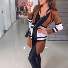 New Brown Striped Print Hooded Long Sleeve Fashion Cardigan Coat Matching Shirts, Matching Outfits, Cardigan Fashion, Fashion Coat, Hooded Cardigan, Women Sleeve, Stripe Print, Fashion Forward, Long Sleeve