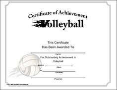 Volleyball Certificate Templates  Volleyball Banquet And Certificate