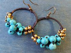 1 Pair of 30 mm turquoise beaded earrings / by CarmanGemsHouse, $18.59